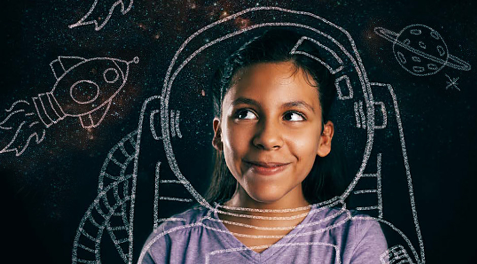 Girl with chalk drawing of astronaut around her